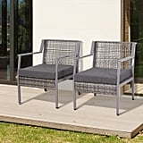 Outsunny 2 Piece Aluminum Rattan Wicker Outdoor Patio Cushioned Chair Set