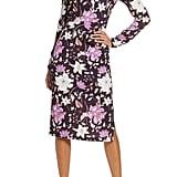 Eliza J Floral Long Sleeve Body-Con Midi Dress