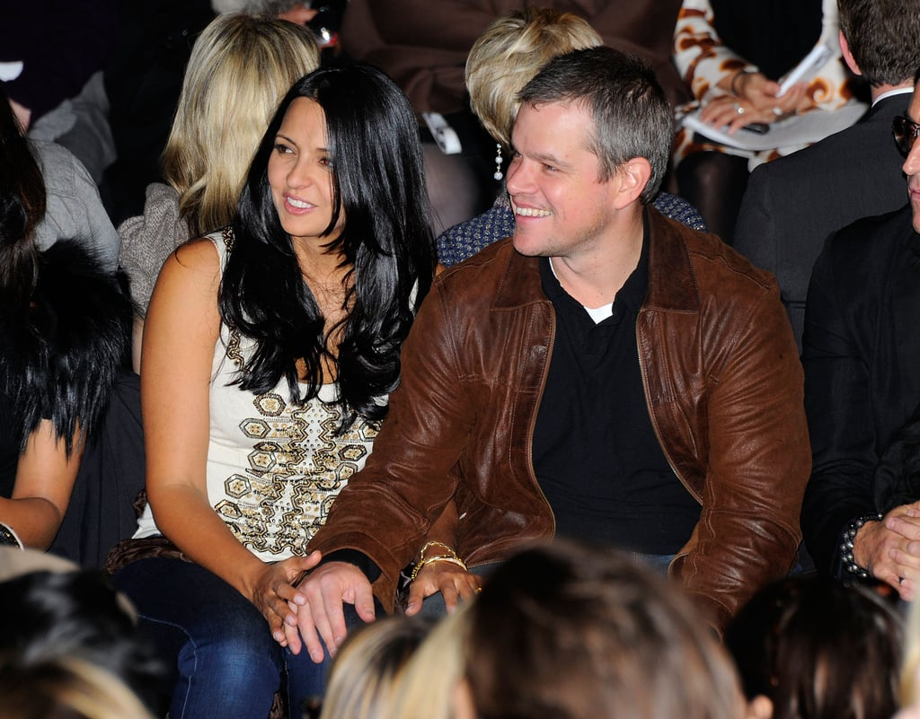 Matt Damon was a surprise front-row guest seated next to his wife, Luciana, at today's Naeem Khan Fashion Week presentation. Matt wasn't the only Hollywood star under the tent as The Help's Ahna O'Reilly, GCB's Kristin Chenoweth, and Top Chef host Padma Lakshmi were also spotted checking out the stunning designs on the runway. Matt and Lucy seemed to be enjoying a very romantic Valentine's Day together, which is one of the reasons they're constantly on our list of loved-up celebrity couples. Matt and Lucy don't need a holiday to share their PDA — in fact, the duo couldn't keep their hands off each other during Lisa Snowdon's 40th birthday celebration in London last month.