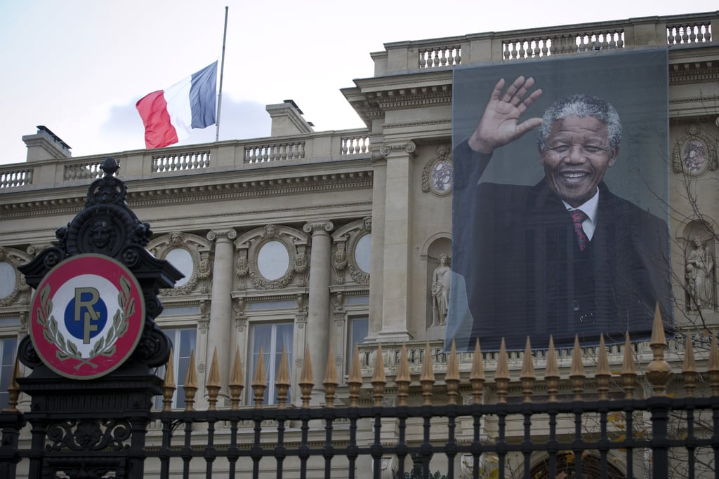 Nelson Mandela's photo hung outside the French foreign ministry in Paris.