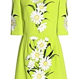 Dolce & Gabbana Embroidered Neon Wool-Crepe Mini Dress