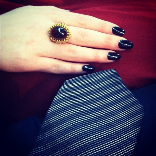Nick Zano took a close up shot of his tie and Kat Dennings' cocktail ring.  Source: Instagram user nickzano