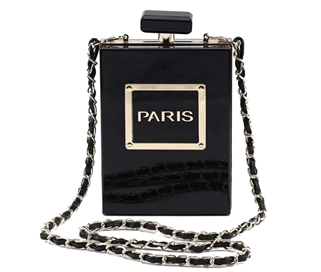 Acrylic Gold Paris Perfume Shape Bag