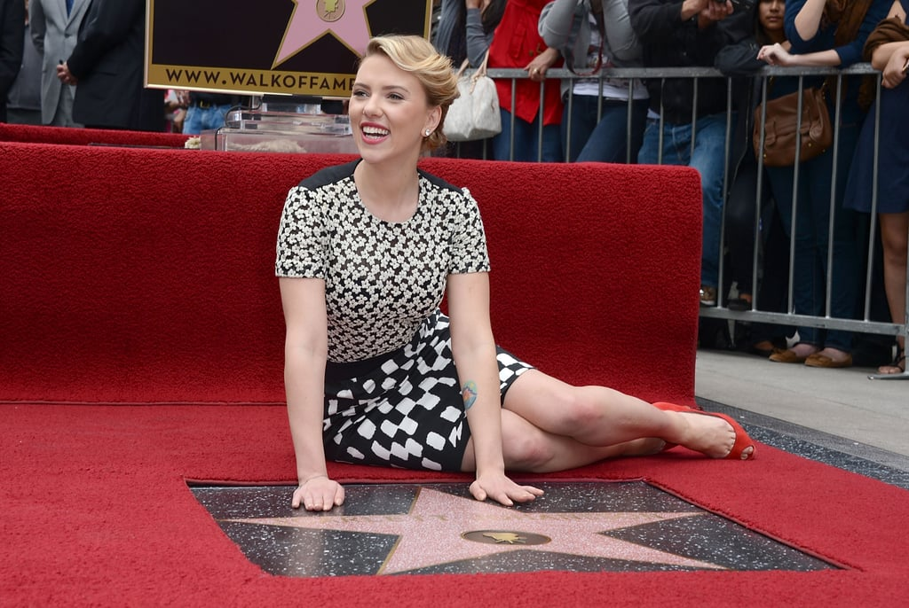 Scarlett Johansson posed for the press with her new star ...