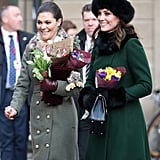 January: Kate met up with the Swedish royals.