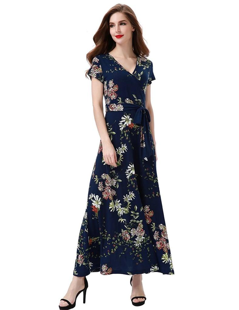 045d1d7c15 Aphratti Neck Faux Wrap Maxi Dress