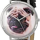 Whimsical Watches Pug Black Leather Watch ($95)