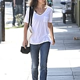Natalie Portman wore blue sneakers in LA.
