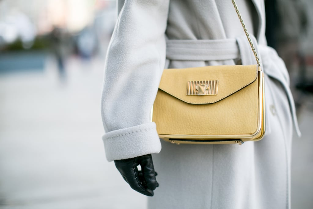 This pale yellow bag plays right into her pale color story.