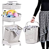 Laundry Basket With Wheel Rolling 3-Tier Basket