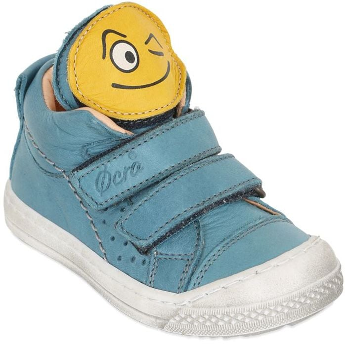 Smiley Face Patches Leather Sneakers