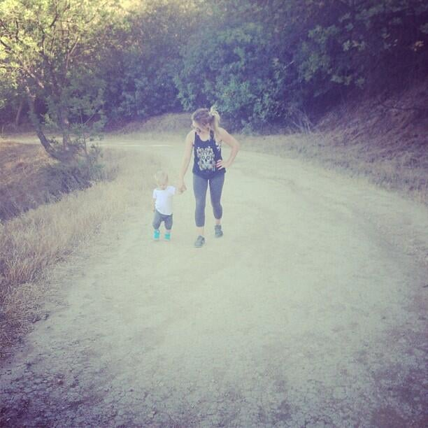 Hilary Duff and son Luca got their fitness on with a hike together.  Source: Twitter user HilaryDuff