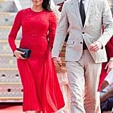 Meghan Markle Wears Red Self Portrait Dress in Tonga 2018
