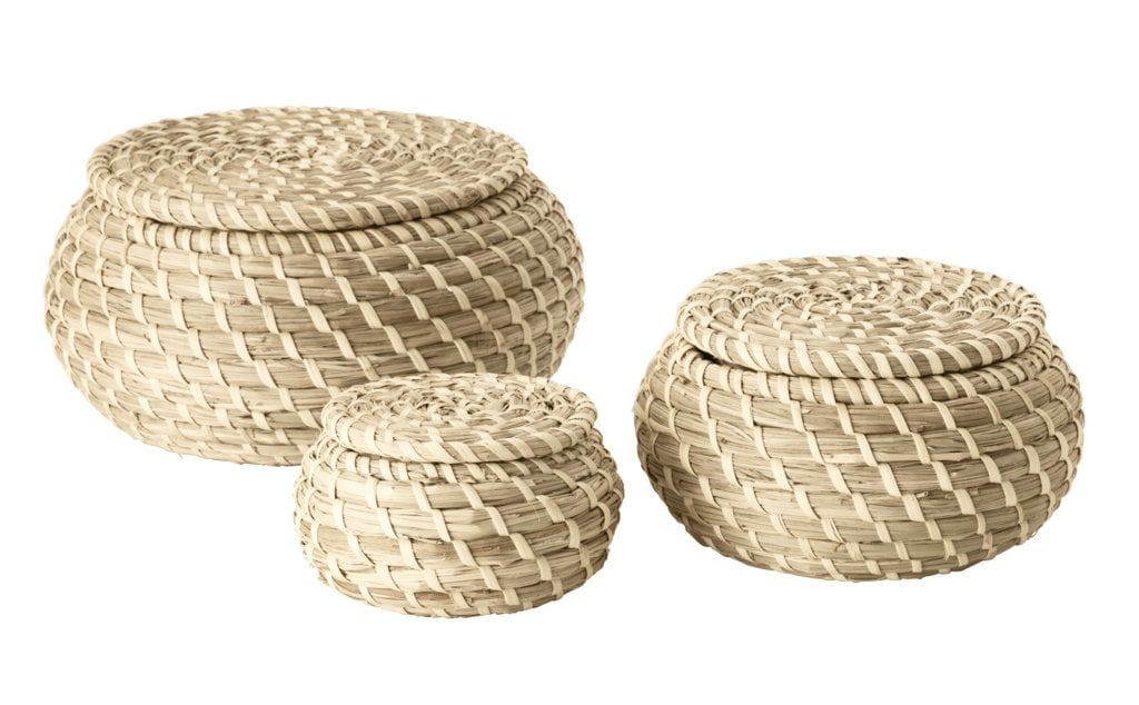 Keep toiletries tidy with these lidded baskets ($17.99 for three).