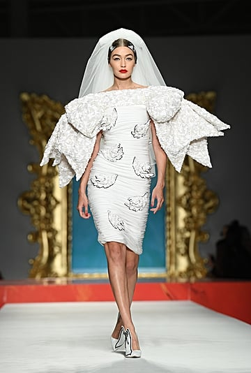 Gigi Hadid Wearing a Wedding Dress at the Moschino 2020 Show