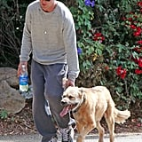 Ryan Gosling had his furry friend along for a hike.