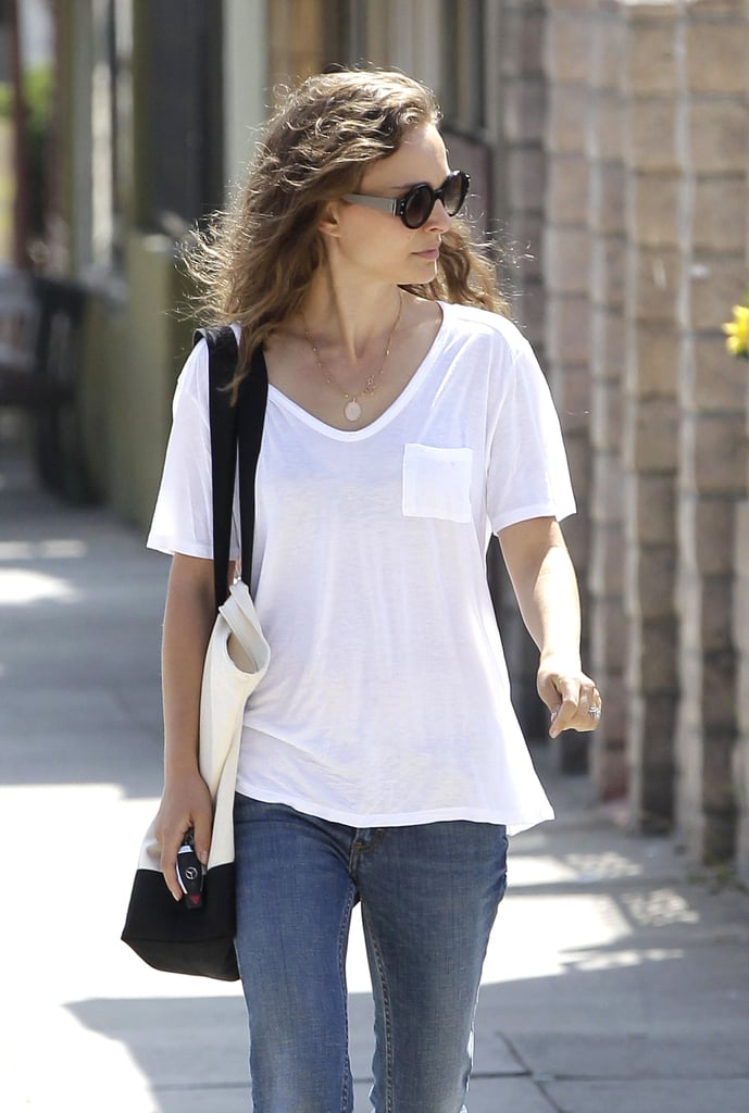 Natalie Portman wore a white t-shirt and jeans in LA.