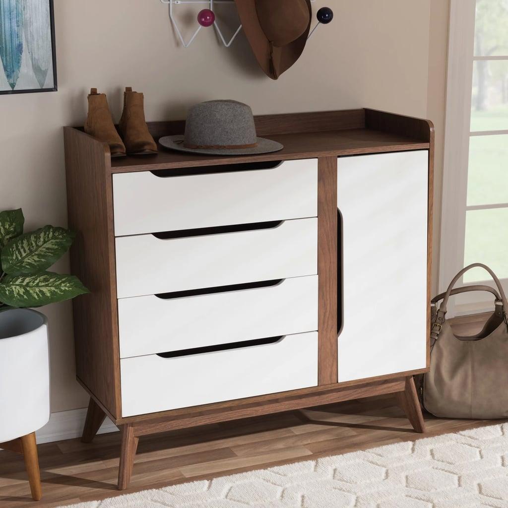 Brighton Midcentury Modern Wood Storage Shoe Cabinet