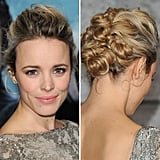 A high-volume updo slowly meandered into a series of twisted knots made for one of Rachel's more glamorous looks to date.