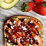 Avocado Toast With Pomegranate Seeds, Strawberries, Feta, and Balsamic