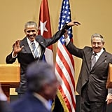 The two also held a press conference and ended it with one of the most awkward handshakes in presidential history.