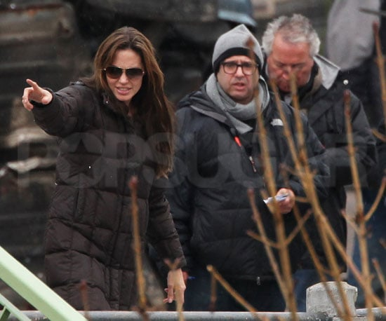 Slide Picture of Angelina Jolie Directing in Hungary