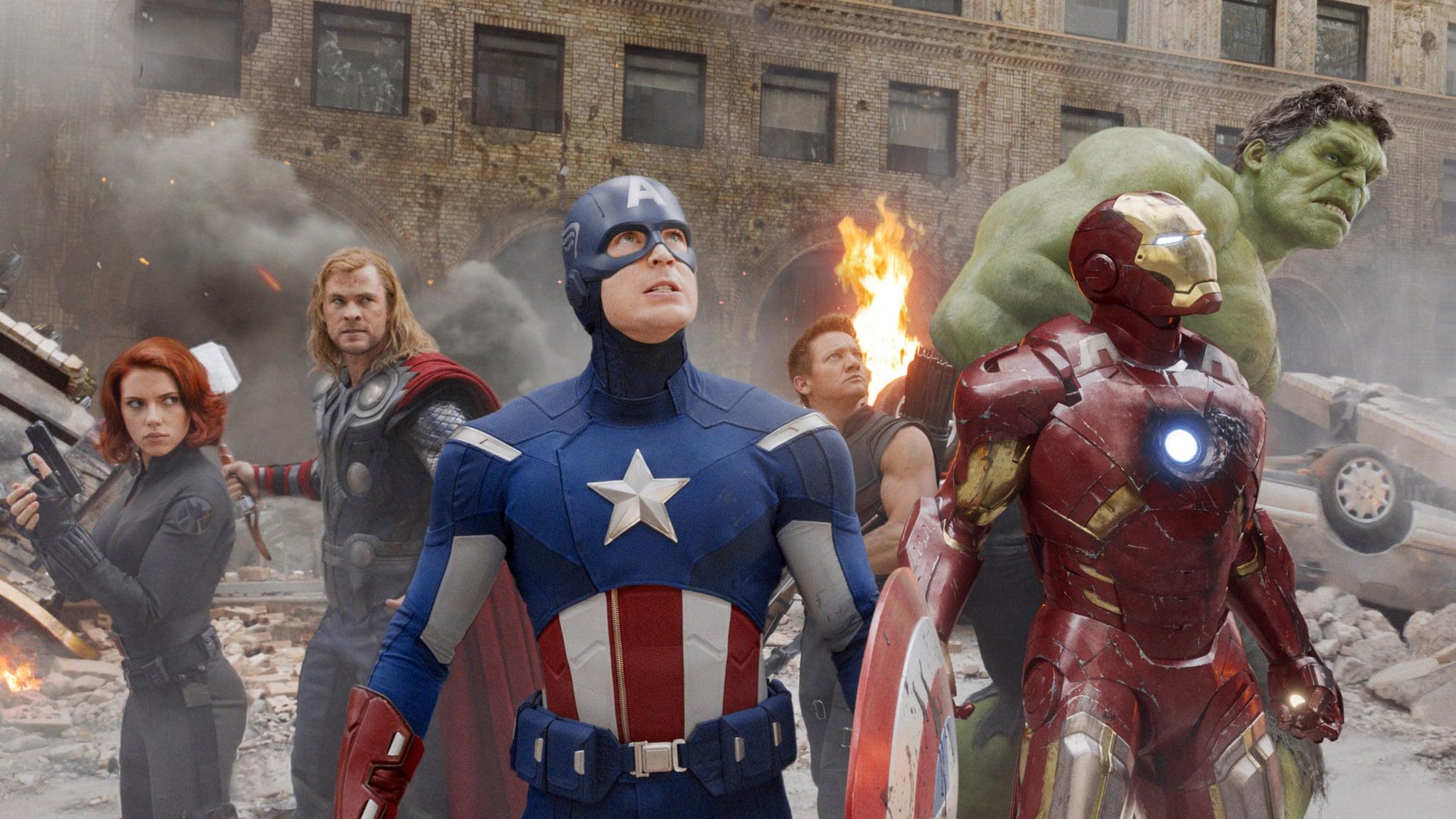 THE AVENGERS, from left: Scarlett Johansson as Black Widow, Chris Hemsworth as Thor, Chris Evans as Captain America, Jeremy Renner as Hawkeye, Robert Downey Jr as Iron Man, Mark Ruffalo as The Hulk, 2012. Walt Disney Studios Motion Pictures/courtesy Everett Collection