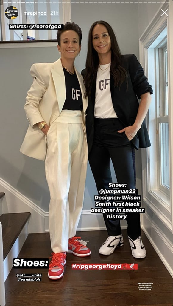 "While there was no official red carpet for the 2020 ESPYs, that doesn't mean attendees refrained from dressing to the nines from the comfort of their own homes. Megan Rapinoe and Sue Bird, who each pulled off five amazing outfits, hosted Sunday night's remote show along with Russell Wilson. They acknowledged the Black athletes who've fought for equality for years, as well as the work the industry still has to do. But in addition to using their voices to speak up about racial inequality in sports, they wore an assortment of stylish pieces by Black designers to echo their support for the Black community.  From casual T-shirts to classy evening wear, the couple wore various complementary looks that were not only super chic, but also highlighted Black designers — plus a whole lot of Nike sneakers. Styled by Karla Welch among other celebrity stylists, Megan and Sue mixed and matched pieces from Christopher John Rogers, Pyer Moss, Virgil Abloh, and more. Thankfully, Megan gave us a full breakdown of each outfit on her Instagram Stories, because I need to know where to get all of these incredible sneakers. Keep scrolling for more details on their red-carpet-worthy outfits.      Related:                                                                                                           Ciara and Russell Wilson Brought the Bathrobes to Their Backyard For the ESPYs ""Red Carpet"""