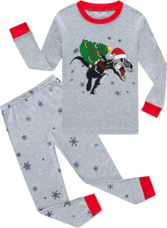 Christmas Dinosaur Big Boys Pajamas, 100% Cotton