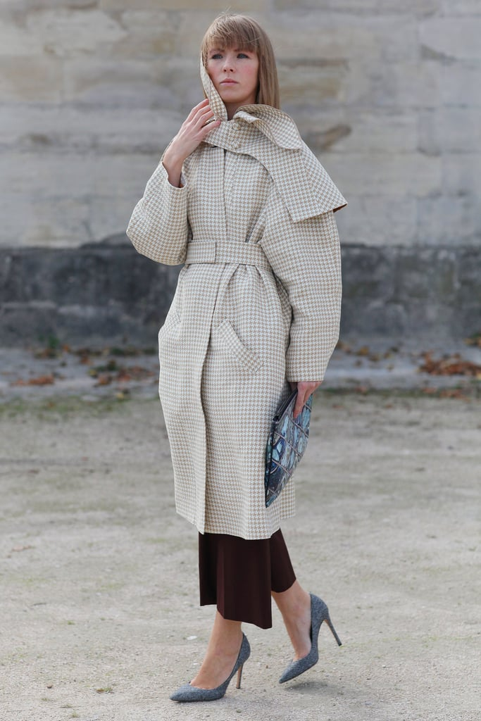A voluminous coat stole the show in this look.