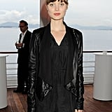 A close-up of Bella Heathcote's drape-front leather jacket at the IWC Filmmakers dinner.