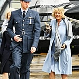 William and Camilla braved the rain during his RAF graduation ceremony in England in April 2008.
