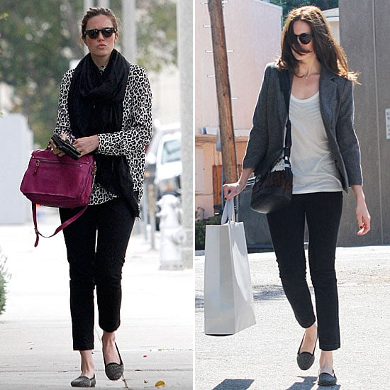 Mandy Moore proves with two street-styled looks that her studded Loeffler Randall loafers are the perfect finish for an on-the-go ensemble. They pair just as well with print and color as they do with a simplified, preppier look.