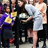 Kate spoke to young girls outside of a London mental health conference in November 2015.