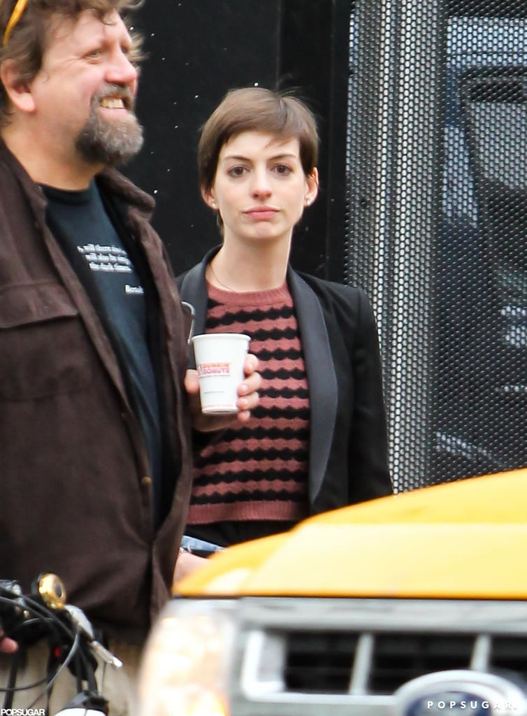 Anne Hathaway was at a recording studio in NYC.