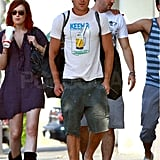 Zac Efron went casual in shorts and a t-shirt.