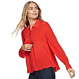 Nine West Silk Western-Seam Button-Down Blouse