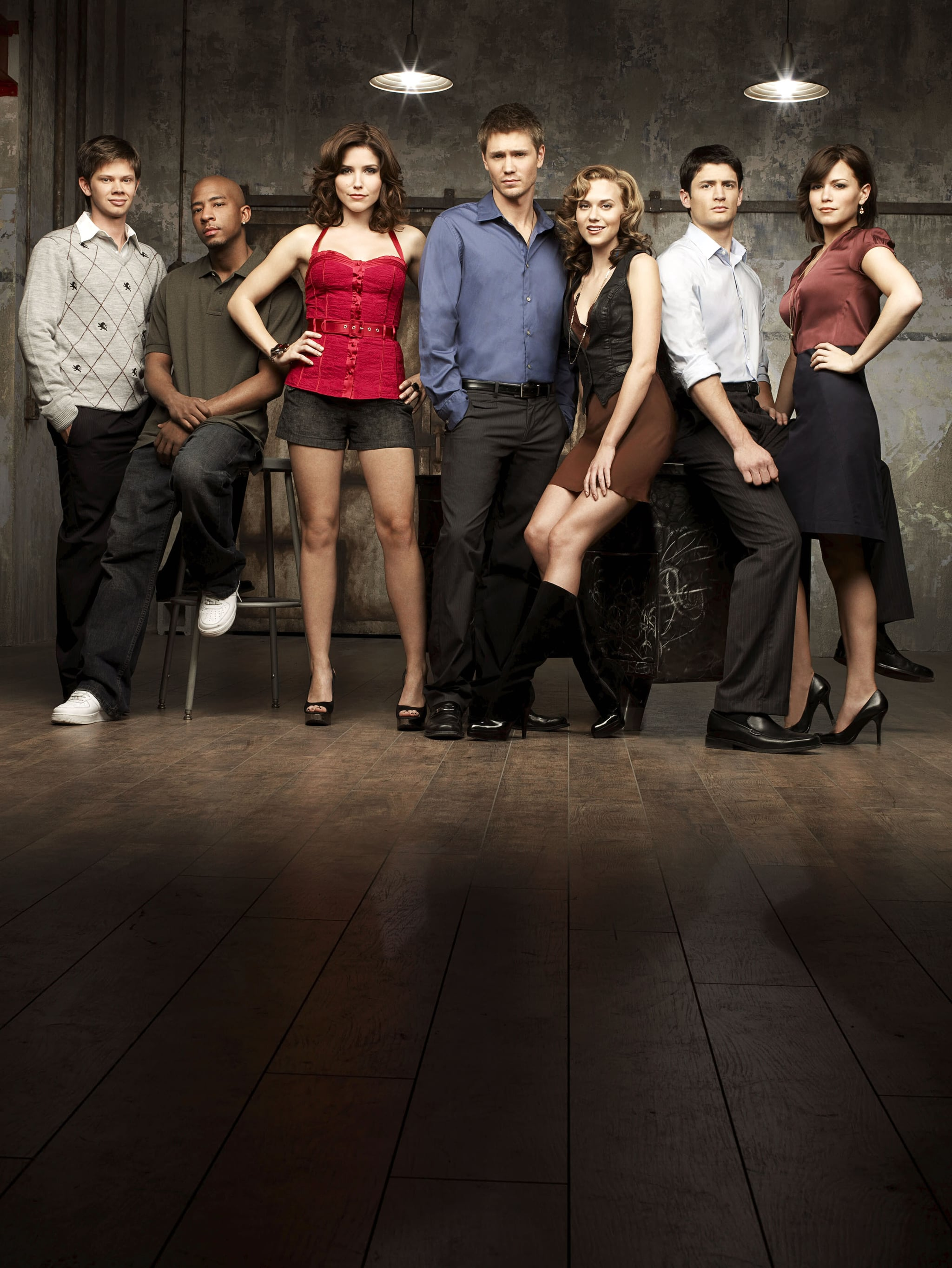 ONE TREE HILL, Lee Norris, Antwon Tanner , Sophia Bush, Chad Michael Murray, Hilarie Burton, James Lafferty, Bethany Joy Galeotti,  (Season 5), 2003-,.   CW / courtesy everett collection