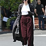 Kendall wearing Stan Smith sneakers.
