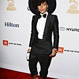A bold bow tie was the perfect finish to Janelle's sleek red carpet style.