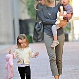 Marion Broderick kept up with Sarah Jessica Parker as she carried Tabitha Broderick.