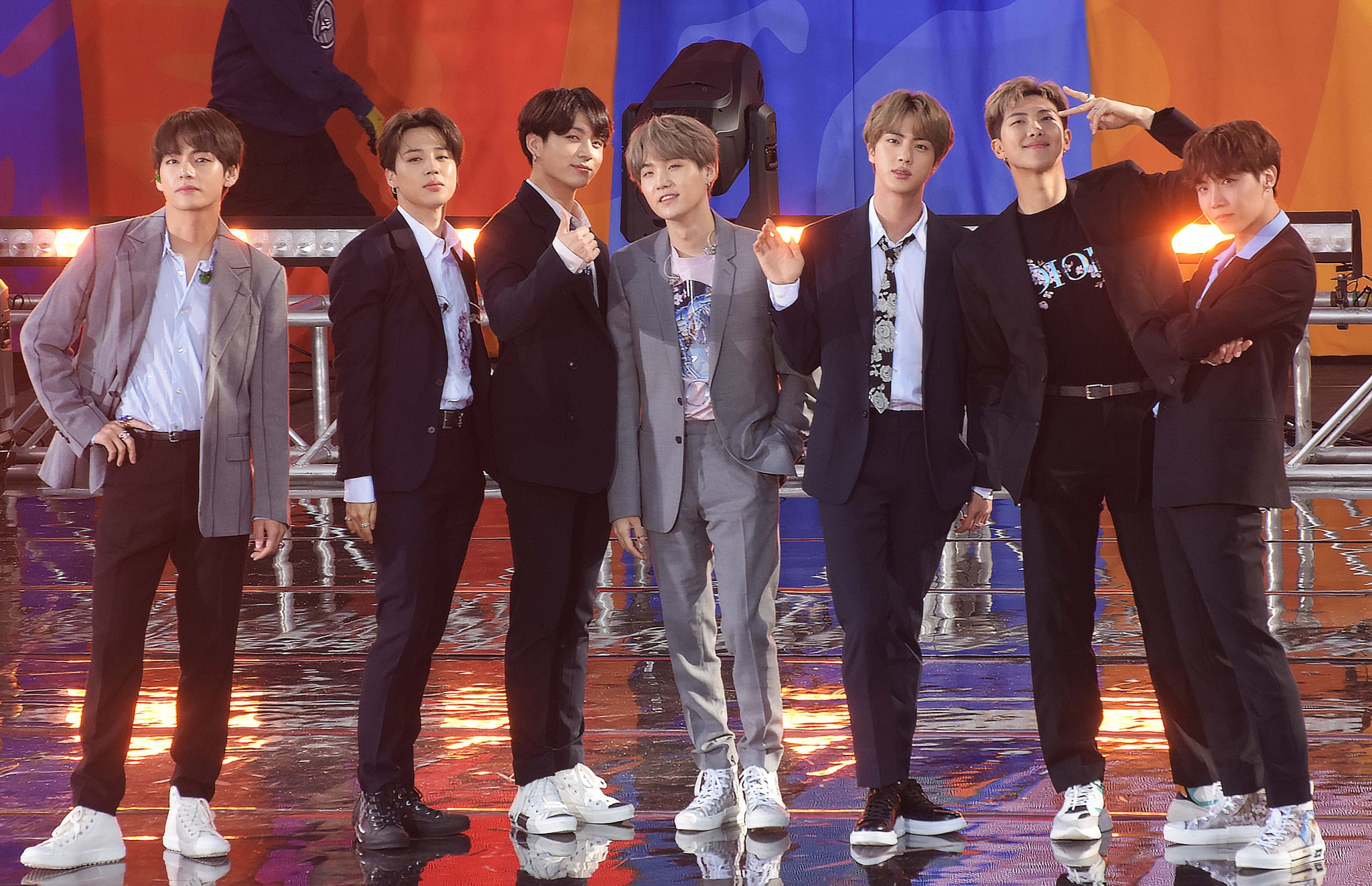 NEW YORK, NY - MAY 15:  Kim Tae-hyung, Park Ji-min, Jungkook Suga, Kim Seok-jin and J-Hope of BTS are seen on May 15, 2019 in New York City.  (Photo by Patricia Schlein/Star Max/GC Images)