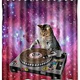 Cool Galaxy DJ Cat Shower Curtain