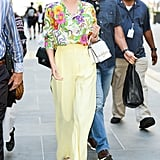 Miranda Kerr Wore a Floral Top With Yellow Trousers