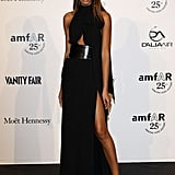Chanel Iman showed off her stems in a slinky high-slit gown at the amfAR gala.