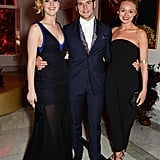 Jennifer Lawrence, Sam Claflin, and Laura Haddock celebrated The Hunger Games: Mockingjay part 1 on Saturday.