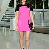 Ashley Greene went for a sporty-looking pink and black Michael Kors minidress with zippered pockets when she attended in 2010.