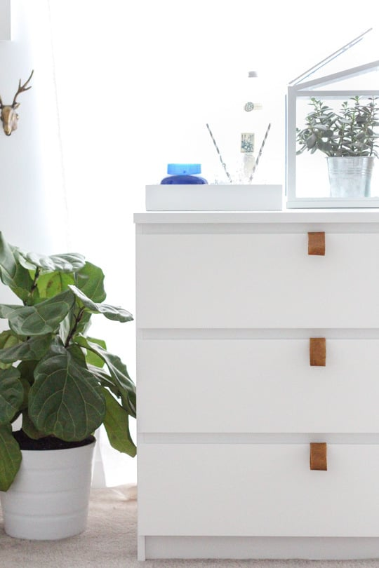 It's hard to believe that this dresser is from Ikea. Following this leather pull tutorial, strips of leather can become a stylish upgrade for only $10!  Source: Sugar and Cloth