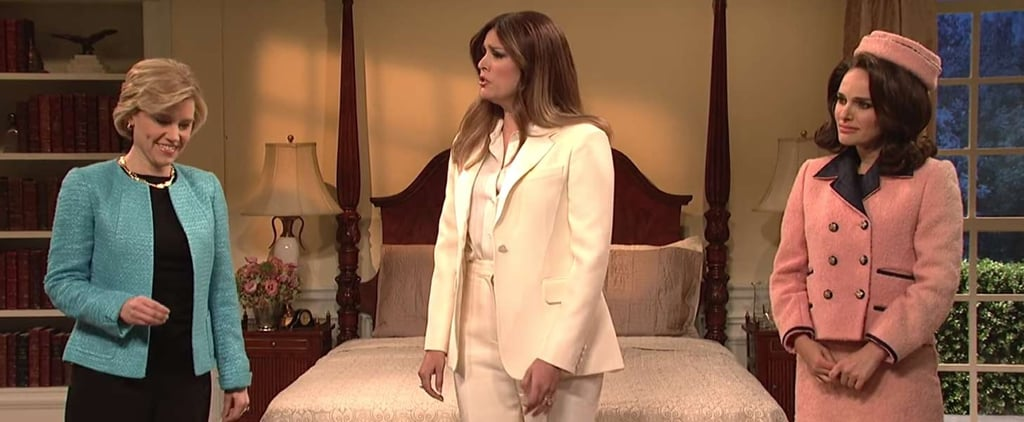 "SNL's Melania Trump Gets ""Advice"" From Jackie Kennedy, Hillary Clinton, and Michelle Obama"