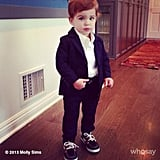 Brooks Stuber showed off his swanky suit before graduating from Babies First Class.  Source: Instagram user mollybsims